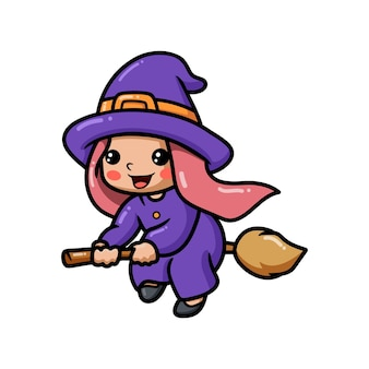 Cute little witch girl cartoon on broomstick