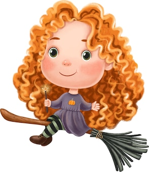 Cute little witch girl sitting on a broomstick halloween illustration