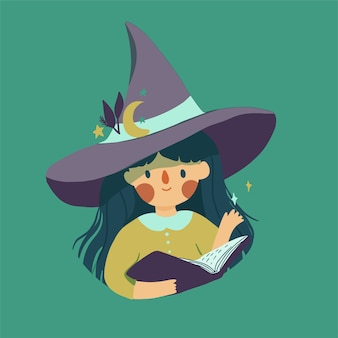 마술 모자에 귀여운 작은 마녀