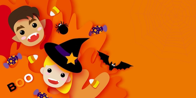 Cute little witch. werewolf. happy halloween. monsters cartoon paper cut style. funny trick or treat. bat, spider, web, candy. space for text orange purple vector