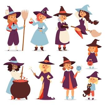 バッグに印刷するためのほうきの漫画の猫とかわいい魔女魔法のハロウィーンカードと衣装の帽子のファンタジー少女のキャラクター