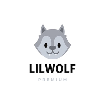 Cute little wolf cartoon logo  icon illustration