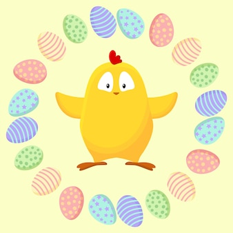 Cute little yellow chicken in a wreath of easter eggs