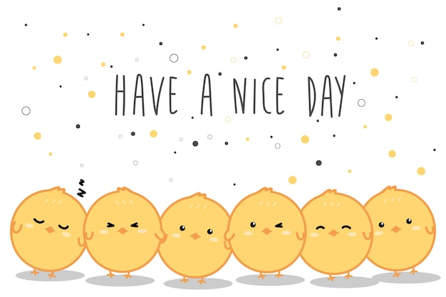 Cute little yellow chickens cartoon doodle banner background