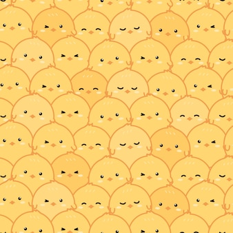 Cute little yellow chickens cartoon doodle seamless pattern