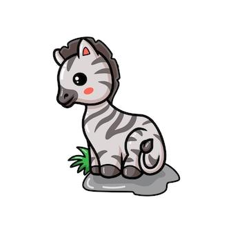 Милый маленький мультфильм зебры сидит