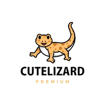 Cute lizard cartoon logo  icon illustration