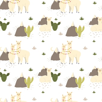 Cute llama alpaca, cactus, mountains seamless pattern.