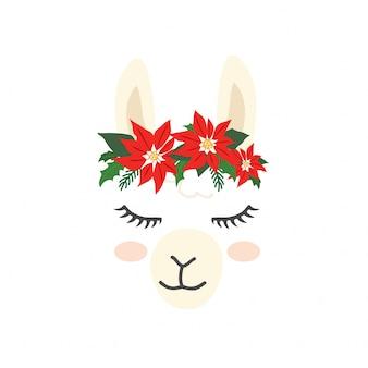 Cute llama alpaca character face for christmas