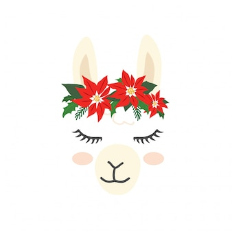 Cute llama alpaca character face for Christmas