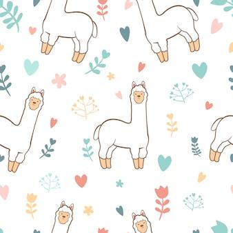 Cute llama alpaca seamless pattern background