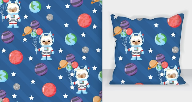 Cute llama astronaut in open space seamless pattern with planet. vector hand drawn illustration. seamless pattern.