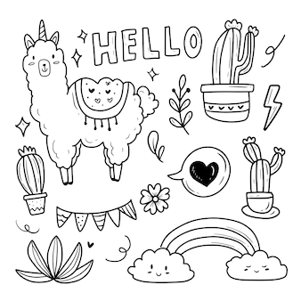 Cute llama and cactus doodle drawing sticker set