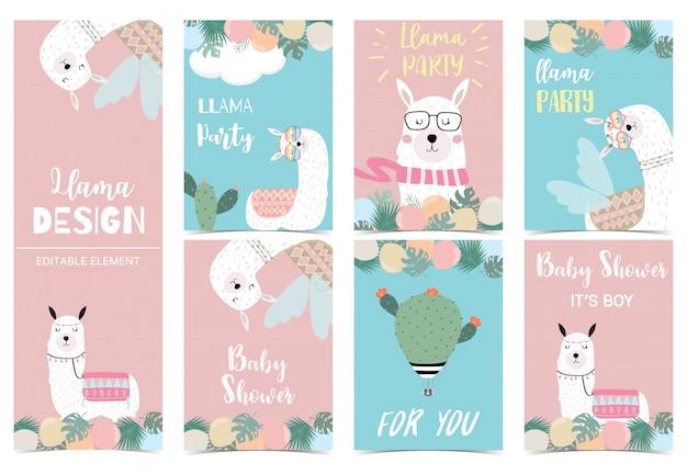 아이를위한 귀여운 라마 카드