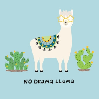 Cute llama card with no drama motivational quote