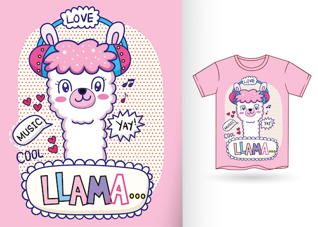 Cute llama cartoon illustration for tshirt
