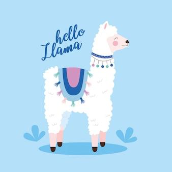 Cute llama cartoon illustration
