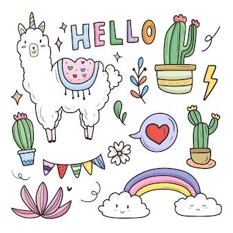 Cute llama cartoon sticker set collection