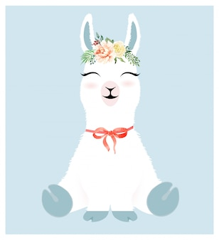 Cute llama character and watercolor flower crown.