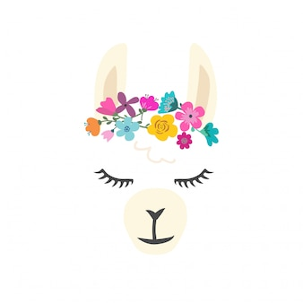 Cute llama character with flowers