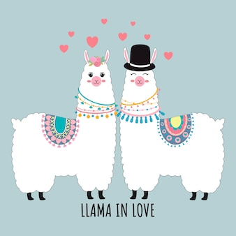 Cute llama couple in love valentin's card