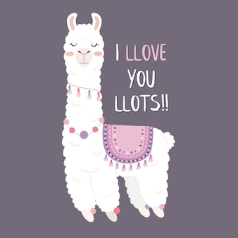 Cute llama design with i love you lots.