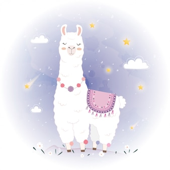Cute llama design with meteor