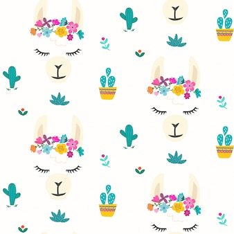 Cute llama face pattern