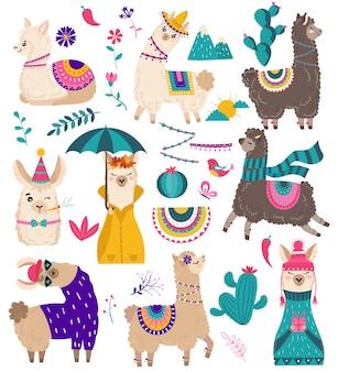 Cute llama, funny alpaca cartoon characters illustration