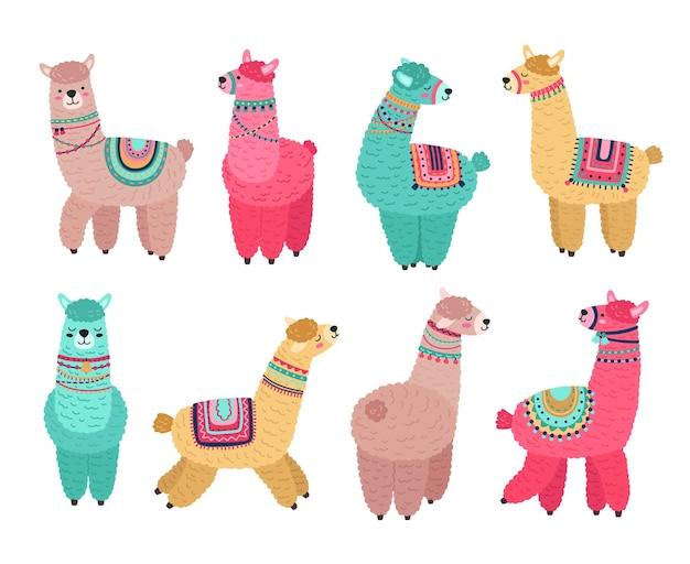 귀여운 라마. 재미있는 알파카, 귀여운 라마 멕시코 야생 동물 캐릭터. 크리에이 티브 부족 양모 동물, 고립 된 만화 보육 애완 동물 벡터 세트. 알파카 동물, 재미있는 색깔의 라마 그림