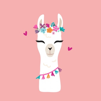 Cute llama graphic with flower wreath