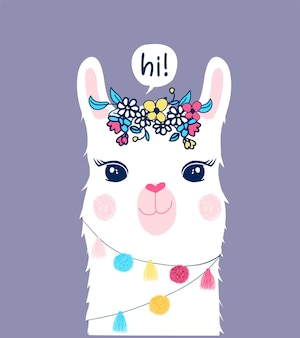 Cute llama illustration with speech bubble says hi and flowers on it's head on purple background