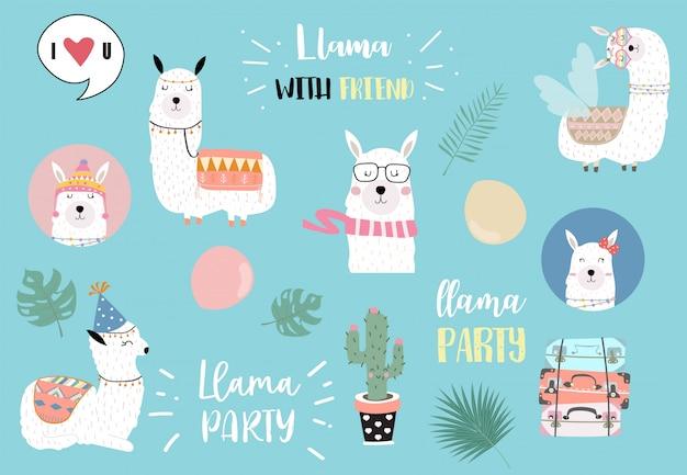 Cute llama invitation for kid