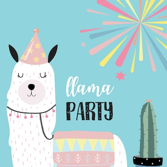 Cute llama invitation for kid