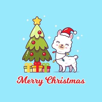 かわいいラマはクリスマスを祝っています