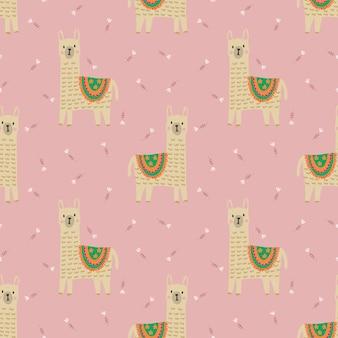 甘いピンクの花のシームレスなパターンにかわいいラマ。 Premiumベクター