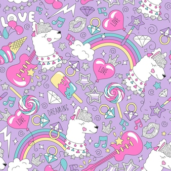Cute llama pattern on a lilac background. colorful trendy seamless pattern. fashion illustration drawing in modern style for clothes. drawing for kids clothes, t shirts, fabrics or packaging.