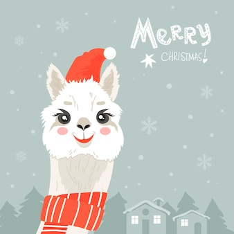 Cute llama in red christmas hat vector illustration alpaca cartoon character isolated flat style