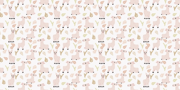 Cute llama seamless pattern background for baby theme