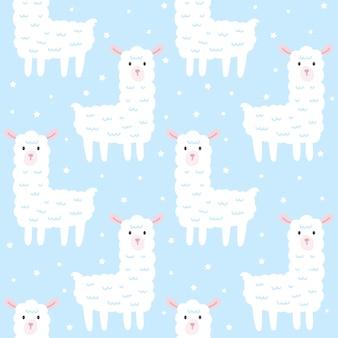 Cute llama seamless pattern background