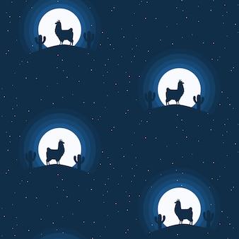 Cute llama seamless pattern design - endless blue night scene