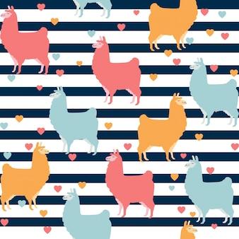 Cute llama seamless pattern design