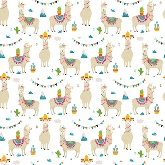 Cute llama seamless pattern design