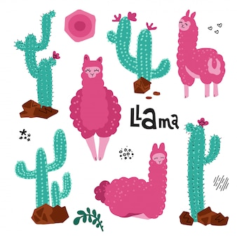 Cute llama set for design