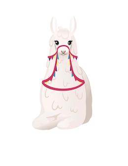 흰색 배경 전면 보기에 격리된 패턴 만화 동물 디자인 플랫 벡터 삽화가 있는 장식용 안장을 입고 바닥에 앉아 있는 귀여운 라마.
