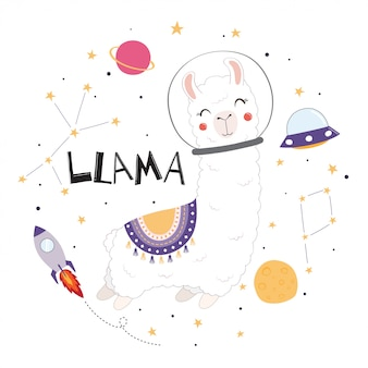 Cute llama in space.