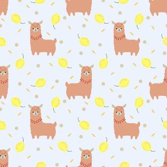 Cute llama and summer lemon seamless pattern