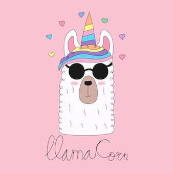 Cute llama unicorn cartoon hand drawn style.