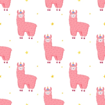 Cute llama unicorn, seamless pattern, pink fluffy alpaca.