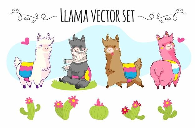 Симпатичный векторный набор ламы с различными кактусами